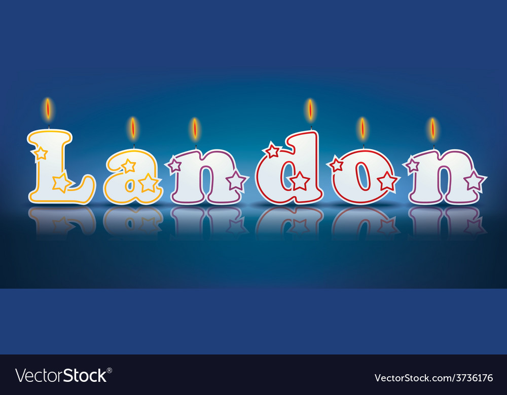Landon written with burning candles vector | Price: 1 Credit (USD $1)