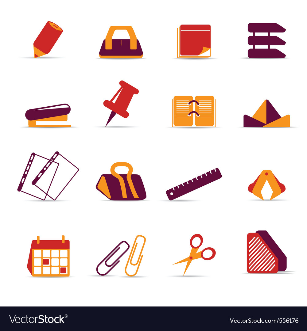 Office accessories icons vector | Price: 1 Credit (USD $1)