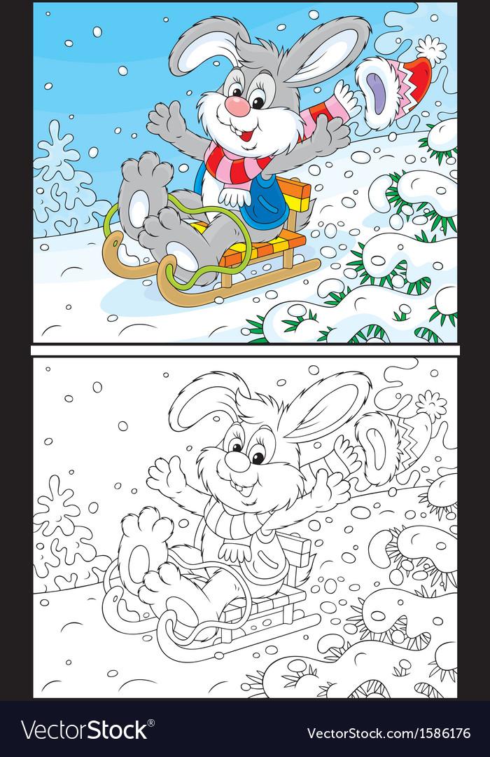 Rabbit sledding vector | Price: 1 Credit (USD $1)
