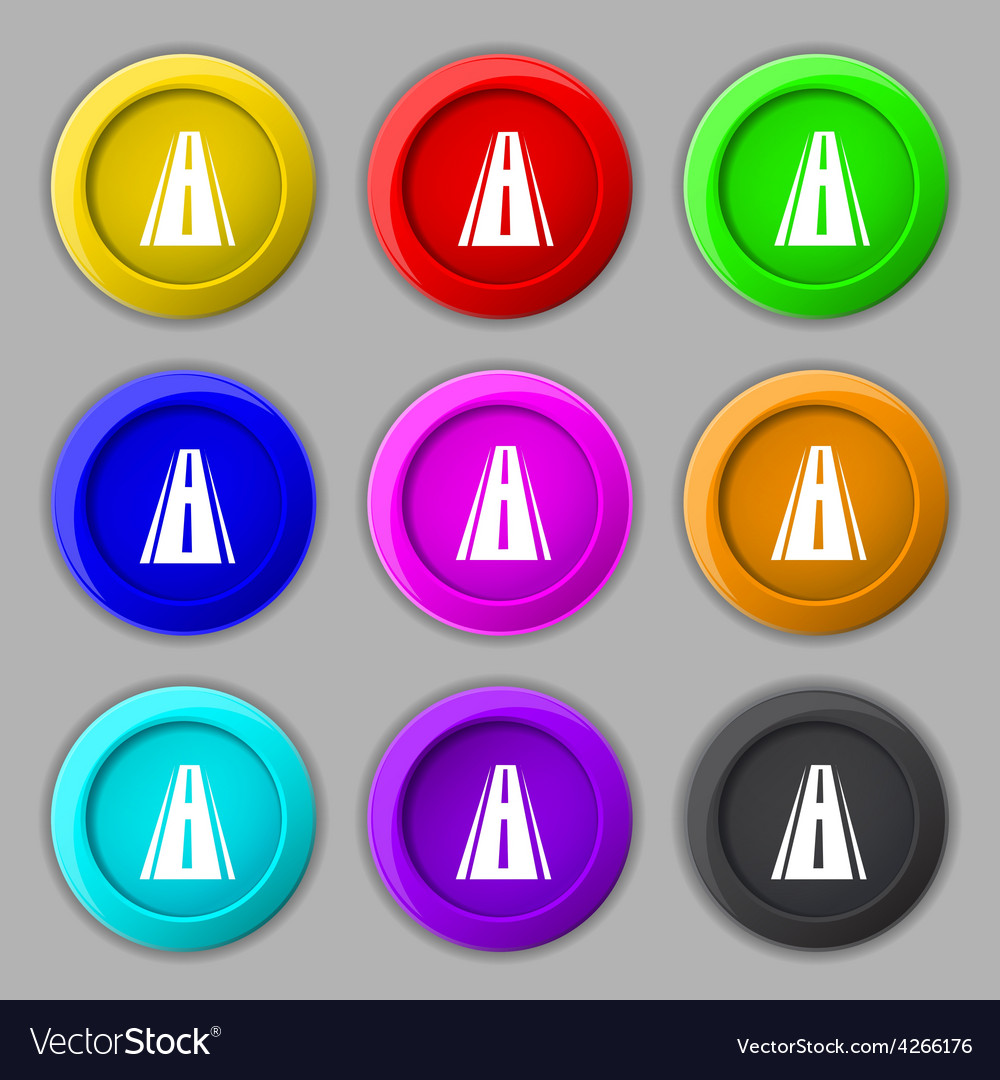 Road icon sign symbol on nine round colourful vector | Price: 1 Credit (USD $1)