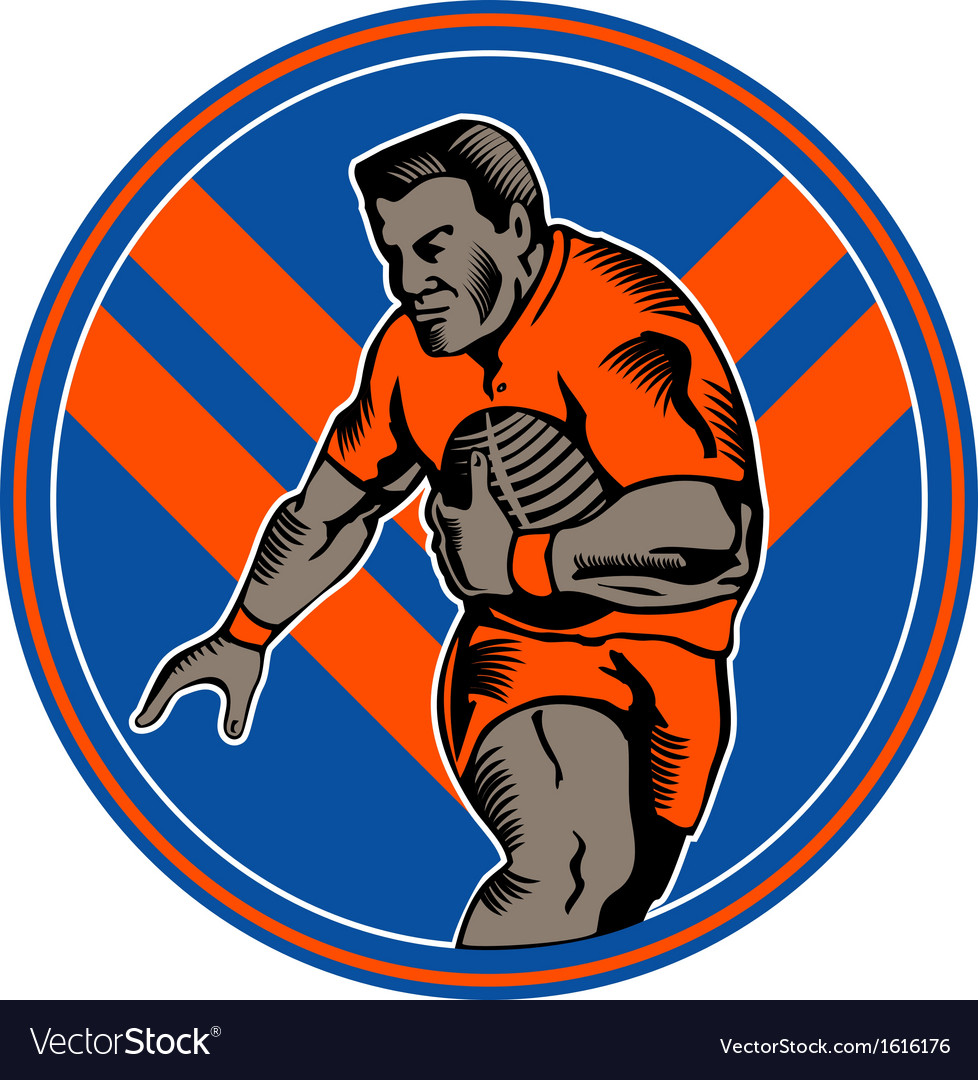 Rugby player running ball vector | Price: 1 Credit (USD $1)