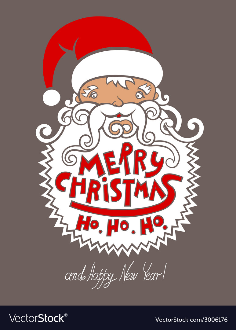 Santa claus head merry christmas happy new year vector | Price: 1 Credit (USD $1)