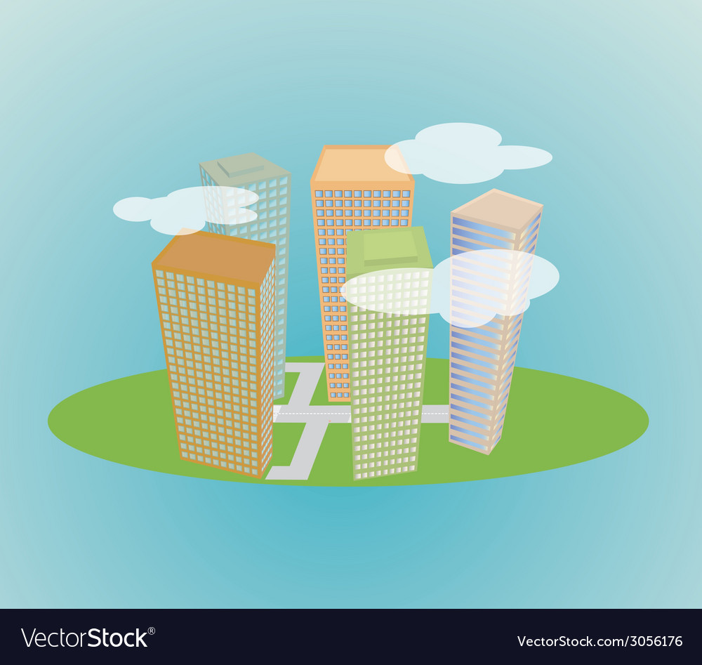 Small city vector | Price: 1 Credit (USD $1)