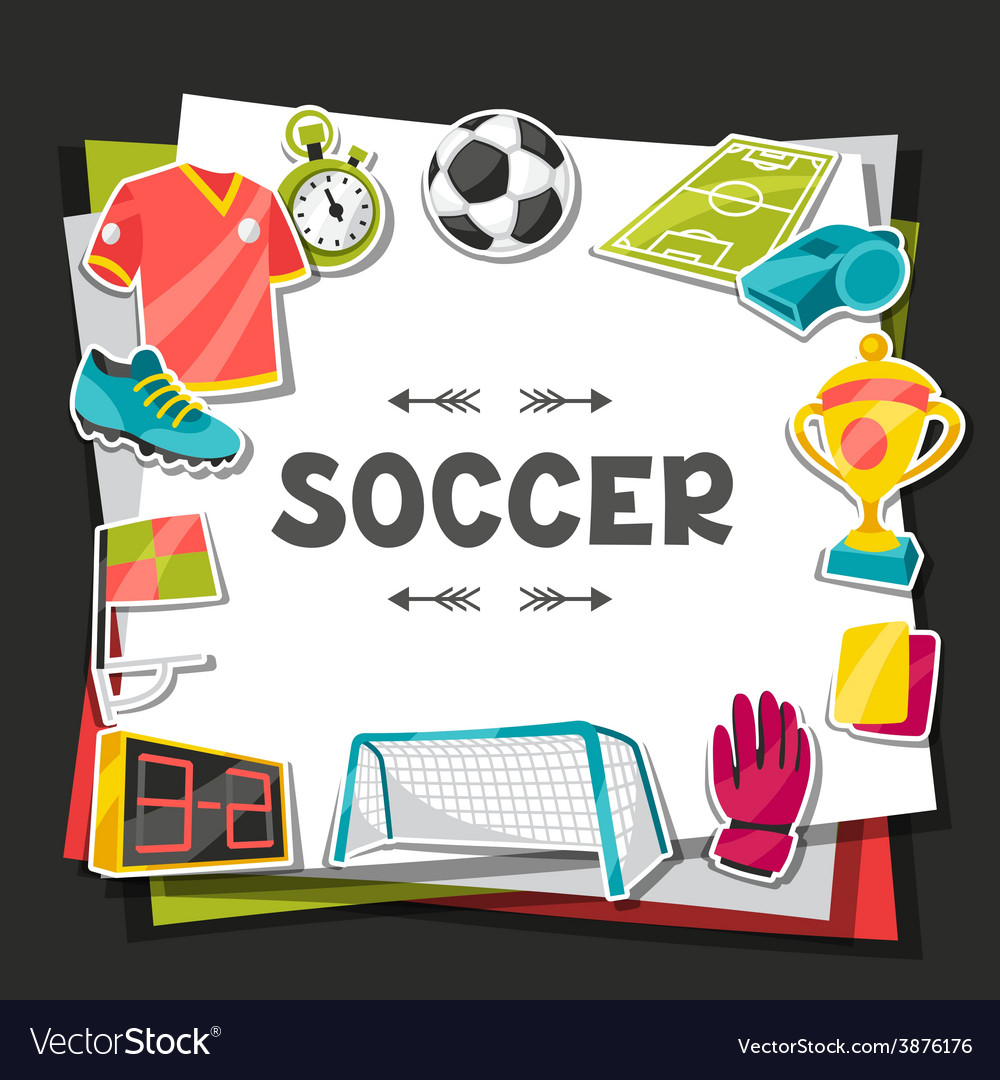 Sports background with soccer sticker symbols vector | Price: 1 Credit (USD $1)