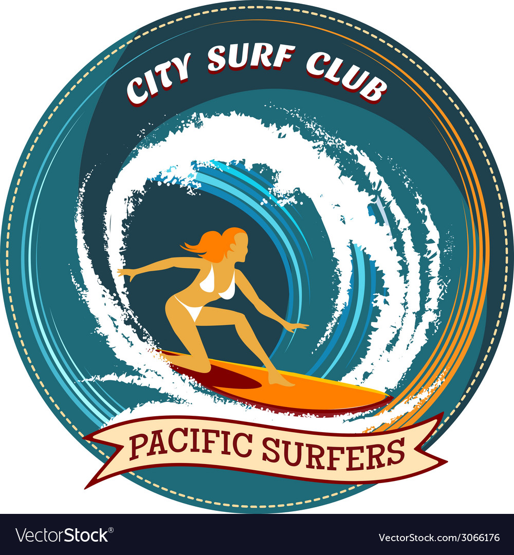 Surfing badge design with a girl surfing vector | Price: 1 Credit (USD $1)