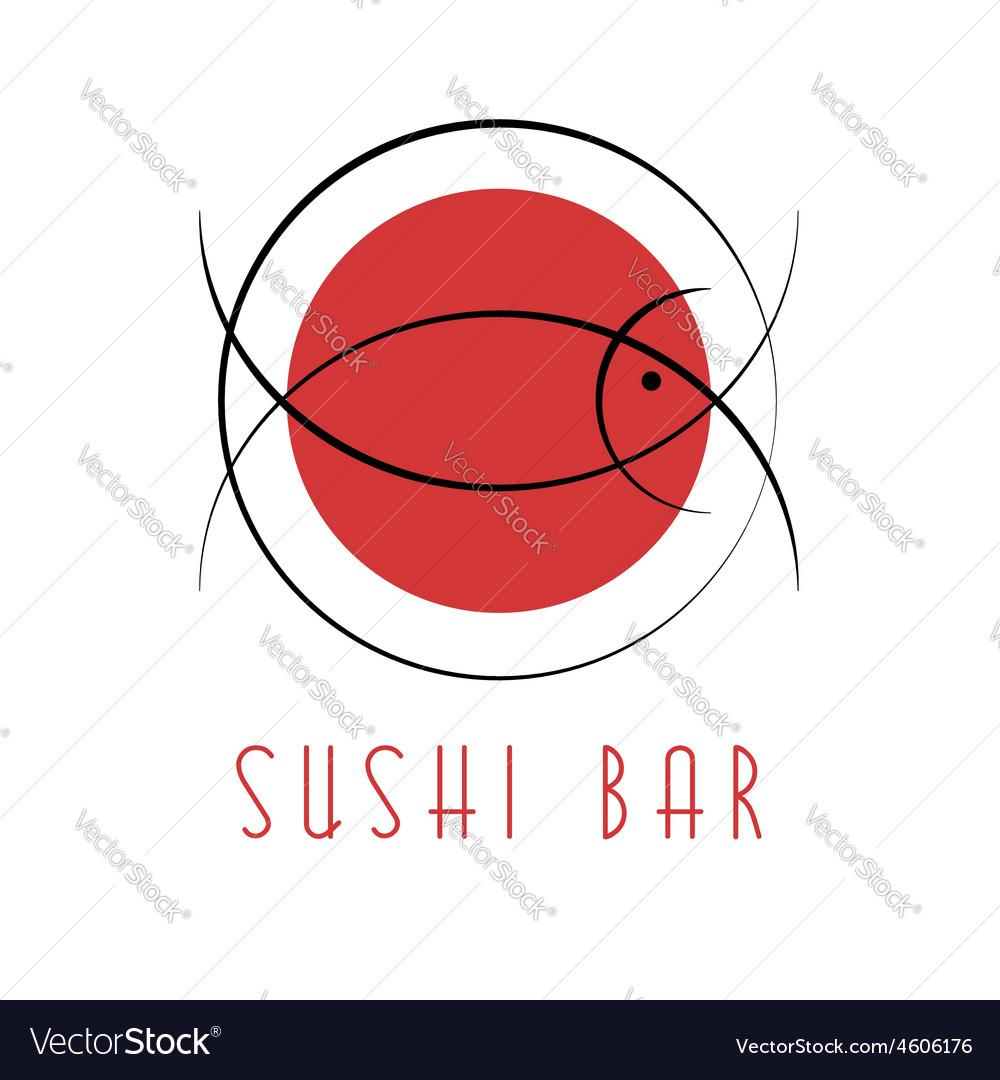 Sushi design logo abstract fish tuna japanese vector | Price: 1 Credit (USD $1)