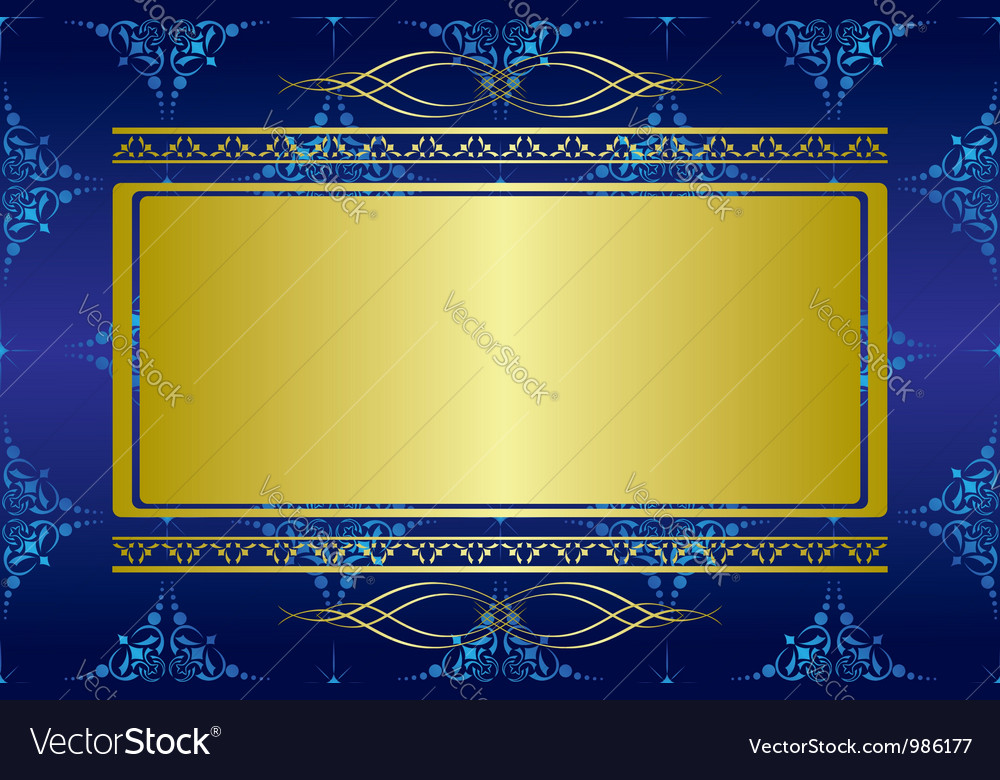 Dark blue card with golden decorations vector | Price: 1 Credit (USD $1)