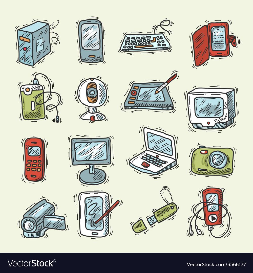 Digital device set vector | Price: 1 Credit (USD $1)