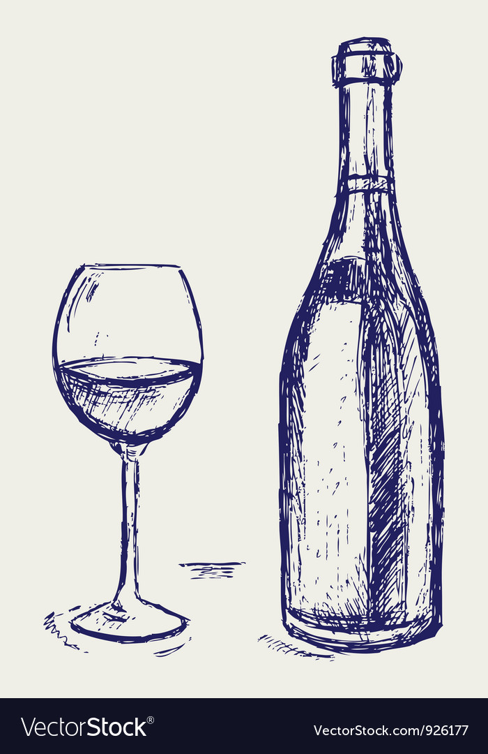 Glass of wine and bottle vector | Price: 1 Credit (USD $1)
