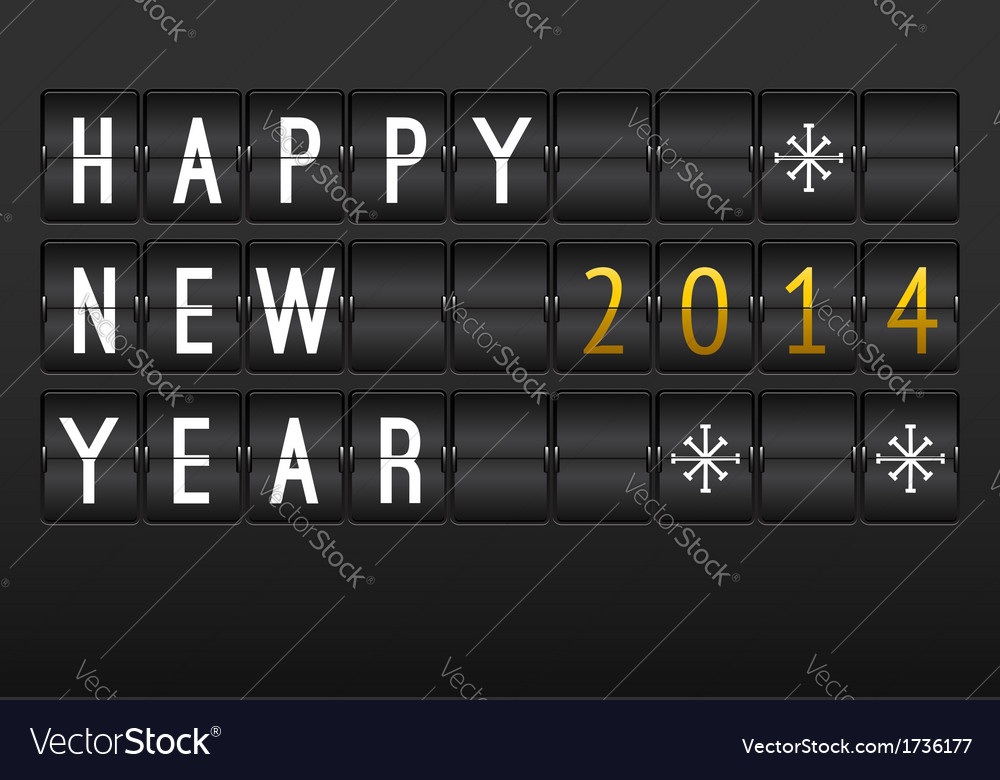 Mechanical timetable happy new year 2014 card set vector | Price: 1 Credit (USD $1)