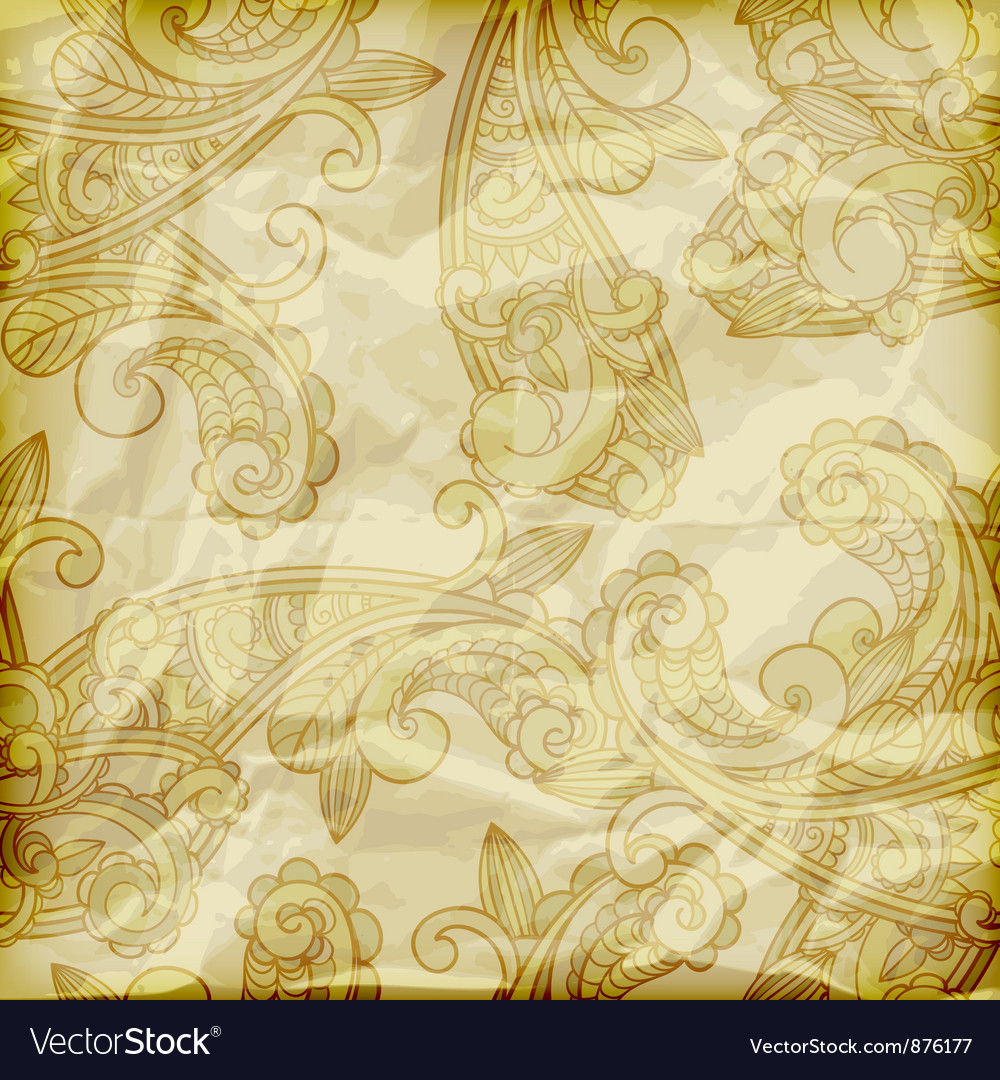 Seamless paisley pattern on crumpled golden foil vector | Price: 1 Credit (USD $1)