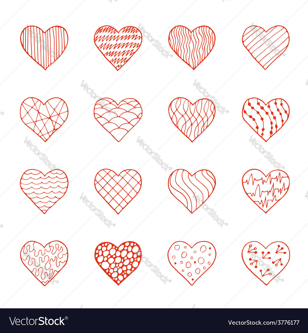 Set of hand drawn doodle hearts vector | Price: 1 Credit (USD $1)