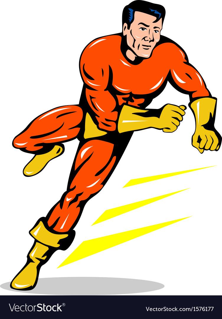 Super hero running retro vector   Price: 1 Credit (USD $1)