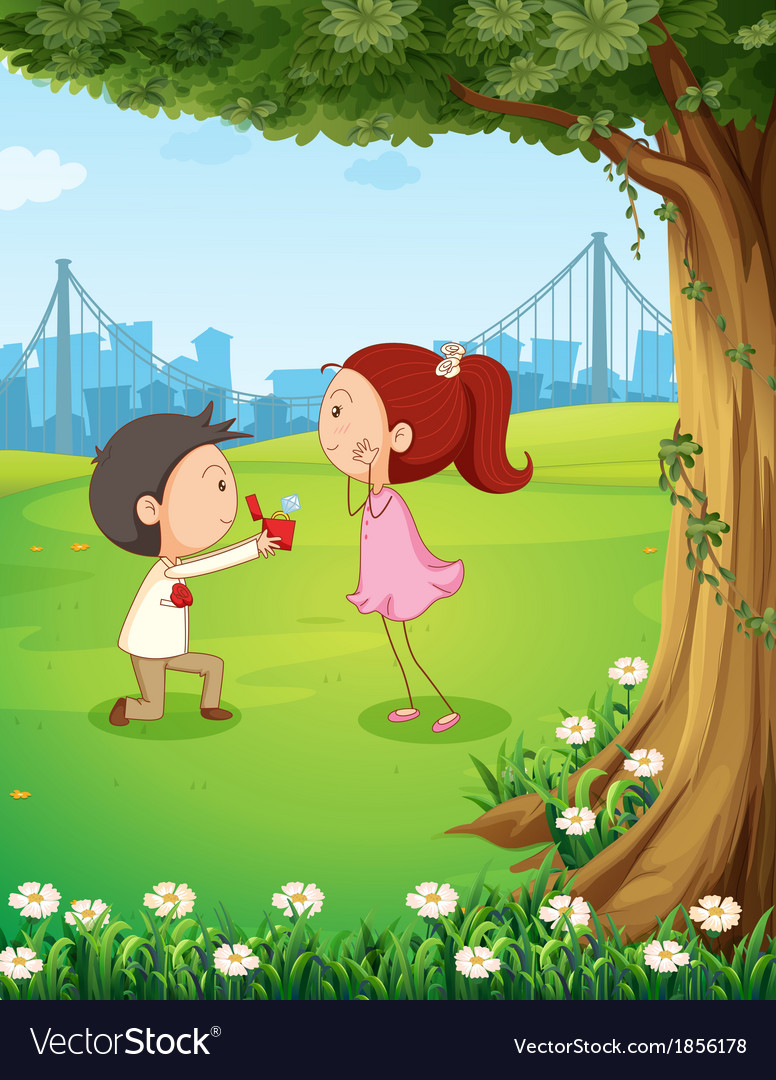 A wedding proposal near the tree vector | Price: 3 Credit (USD $3)
