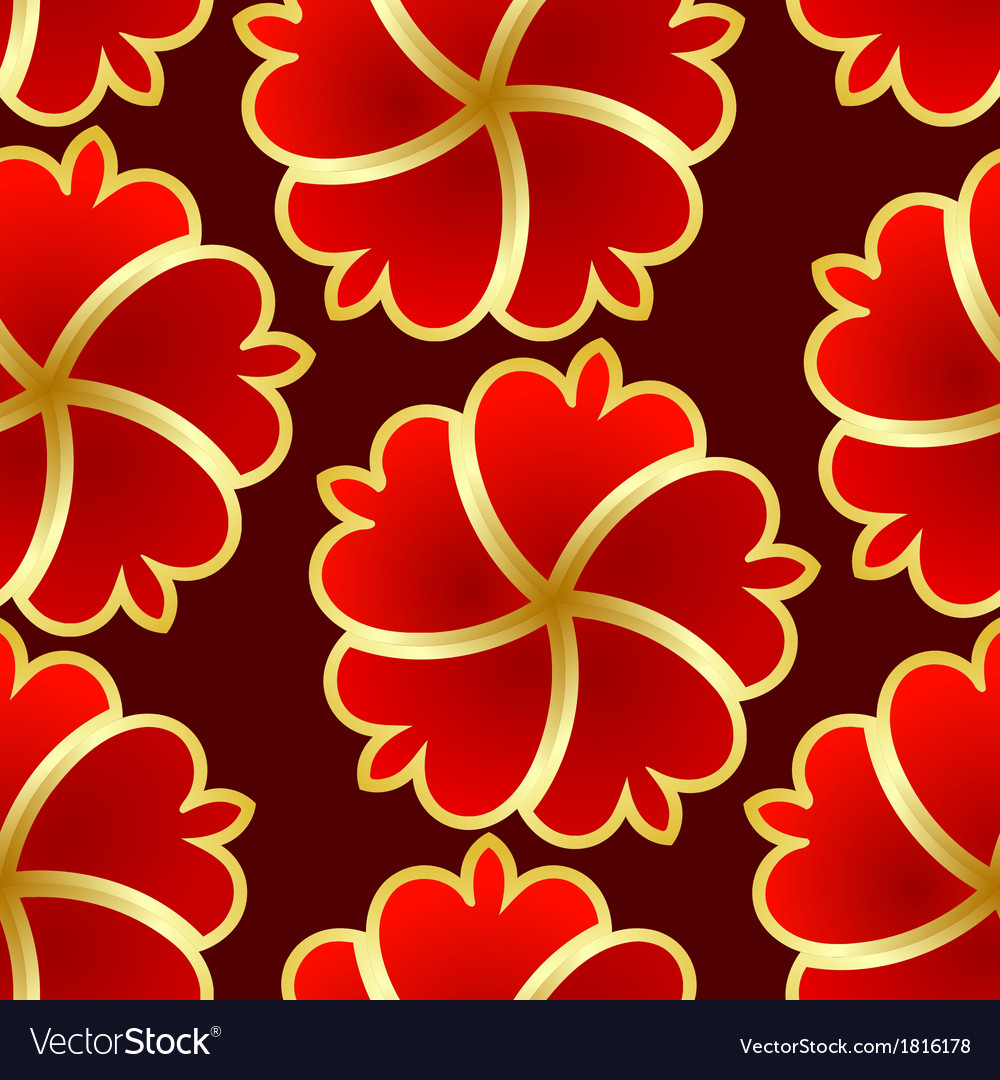 Abstract seamless texture with red gold flower vector | Price: 1 Credit (USD $1)