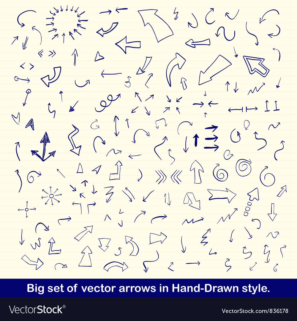 Blue hand drawn arrows set vector | Price: 1 Credit (USD $1)