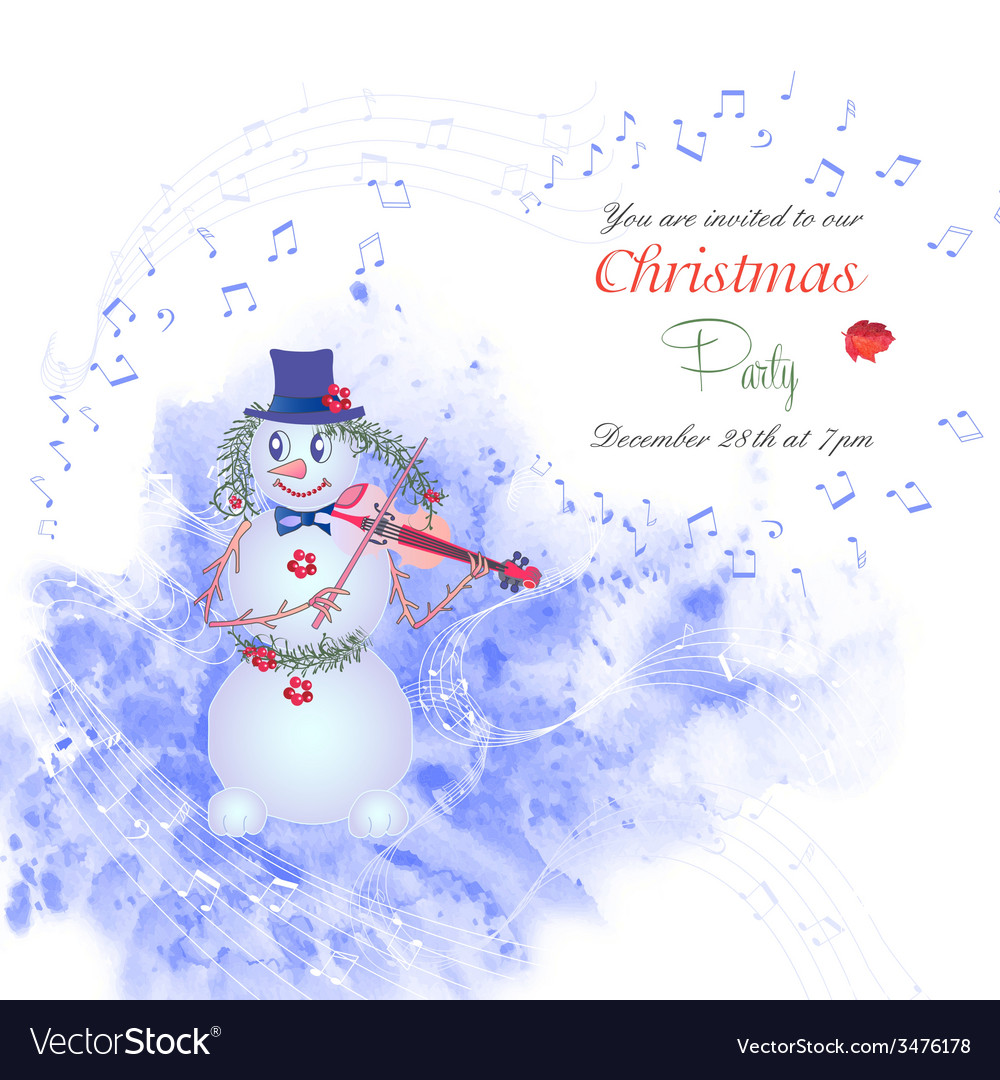 Christmas invitation with snowman-01 vector | Price: 1 Credit (USD $1)