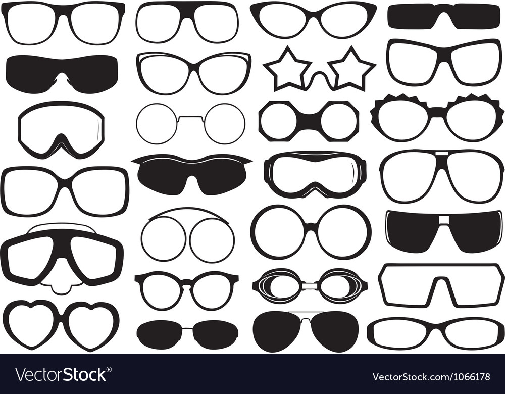 Different eyeglasses isolated vector | Price: 1 Credit (USD $1)