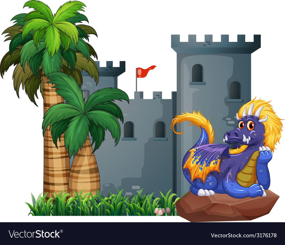 Dragon and a castle vector | Price: 1 Credit (USD $1)
