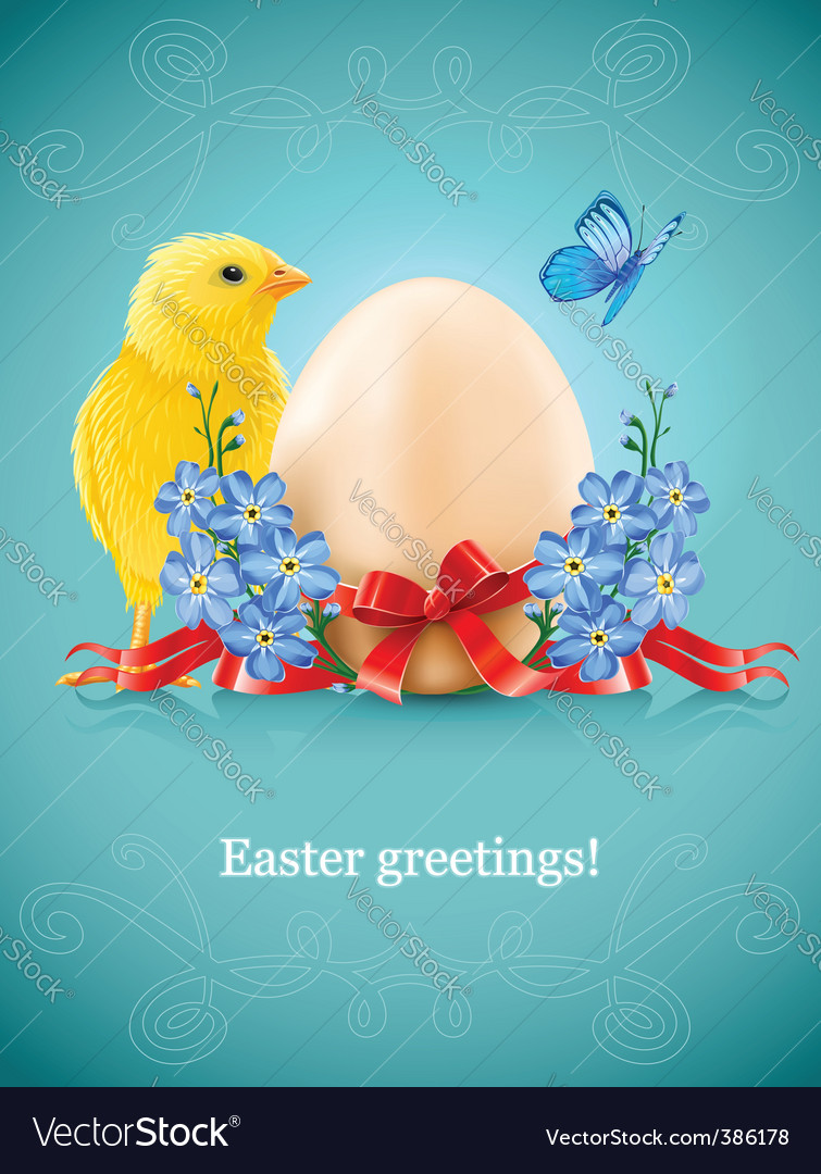 Easter card with egg chicken vector | Price: 3 Credit (USD $3)