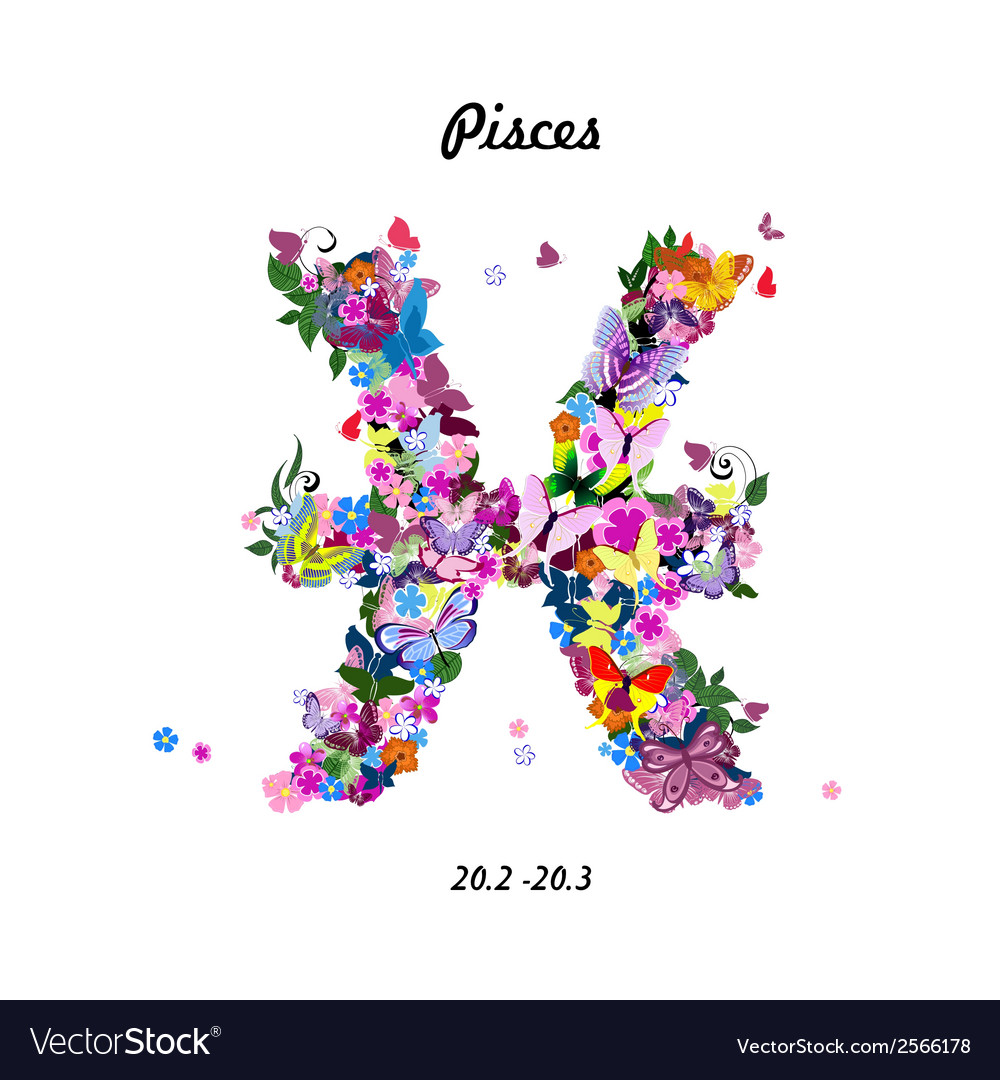 Pattern with butterflies cute zodiac sign - pisces vector | Price: 1 Credit (USD $1)