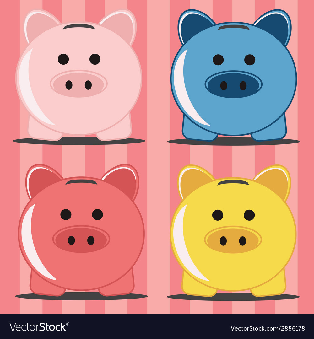 Piggy bank in four colors vector | Price: 1 Credit (USD $1)