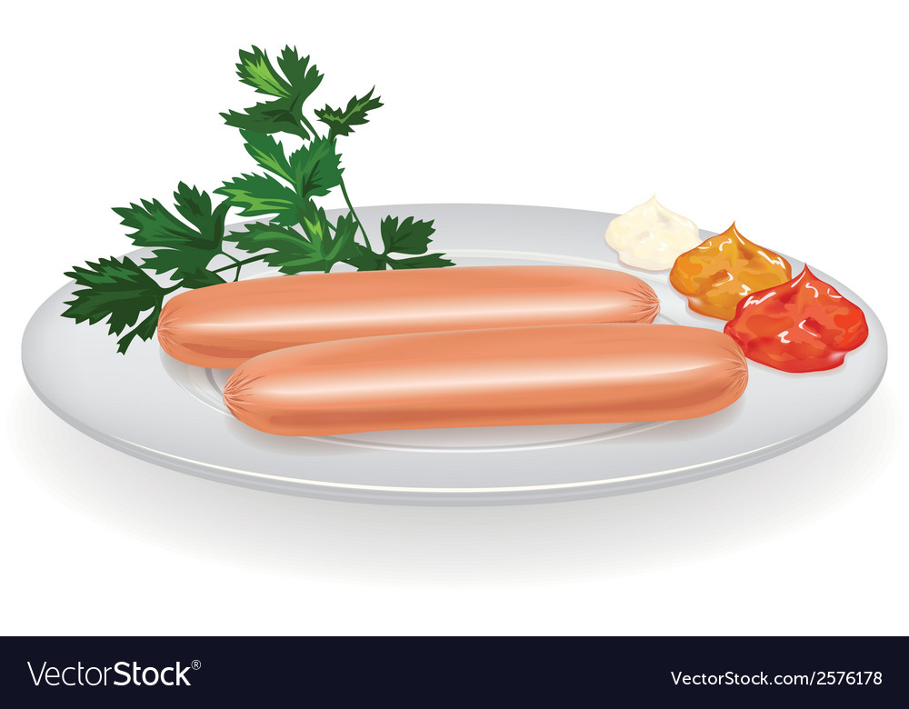 Sausages on a plate vector | Price: 1 Credit (USD $1)