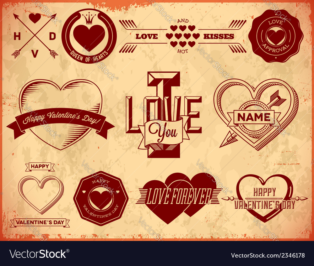 Set of vintage valentines day labels vector | Price: 1 Credit (USD $1)