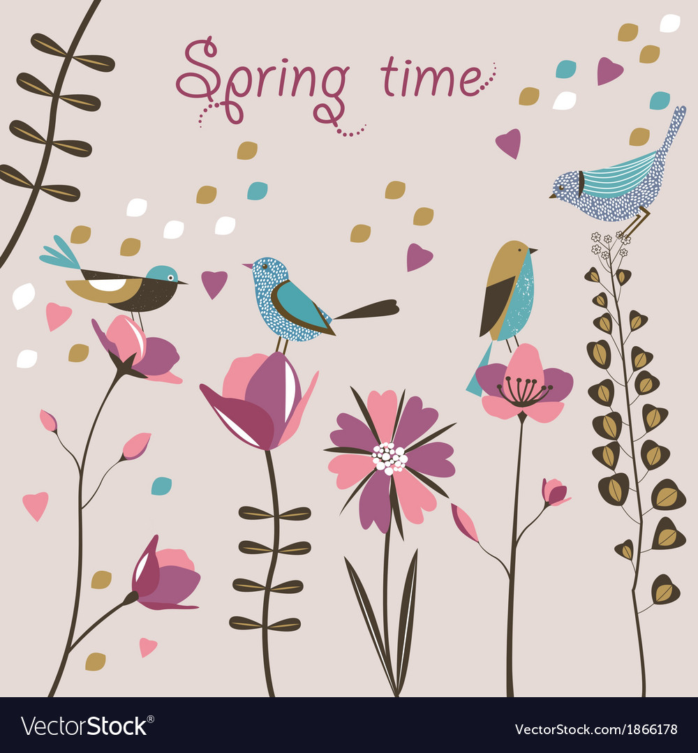 Spring flowers and birds vector | Price: 1 Credit (USD $1)