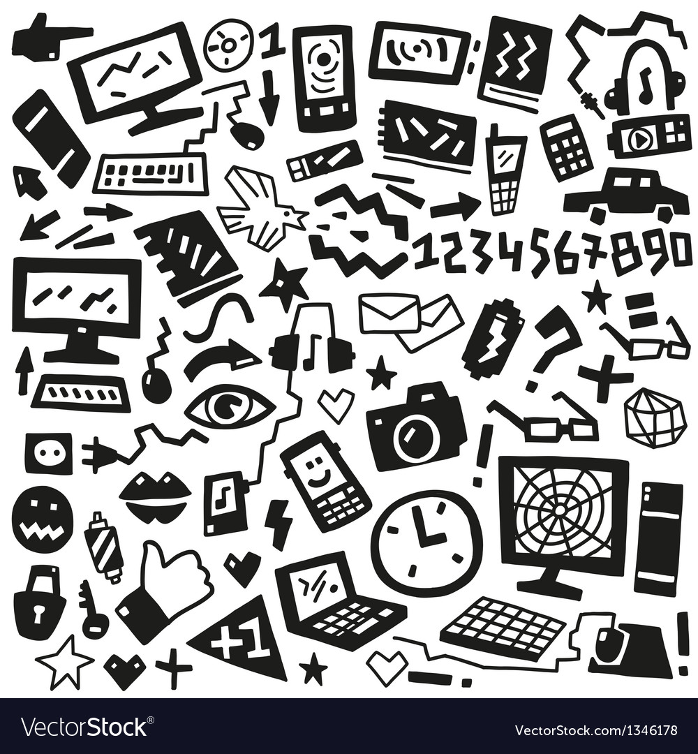 Technology doodles vector | Price: 1 Credit (USD $1)