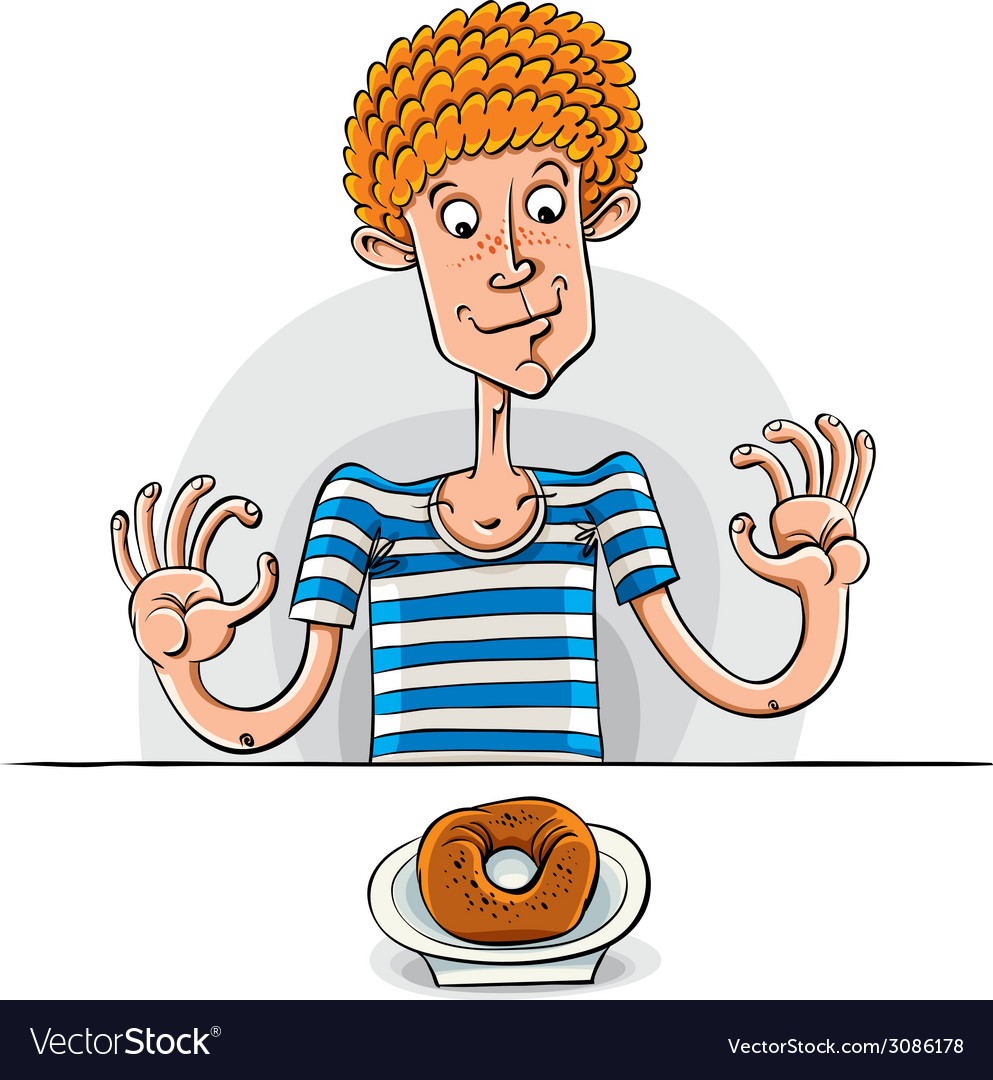 Teen boy with donut vector | Price: 1 Credit (USD $1)