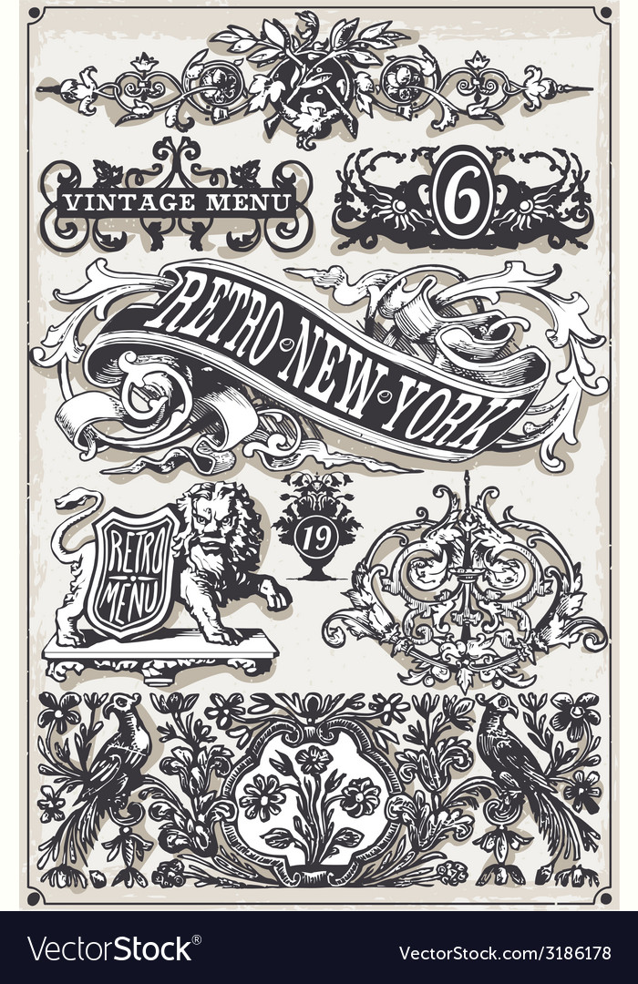 Vintage page hand drawn banners and labels vector | Price: 3 Credit (USD $3)