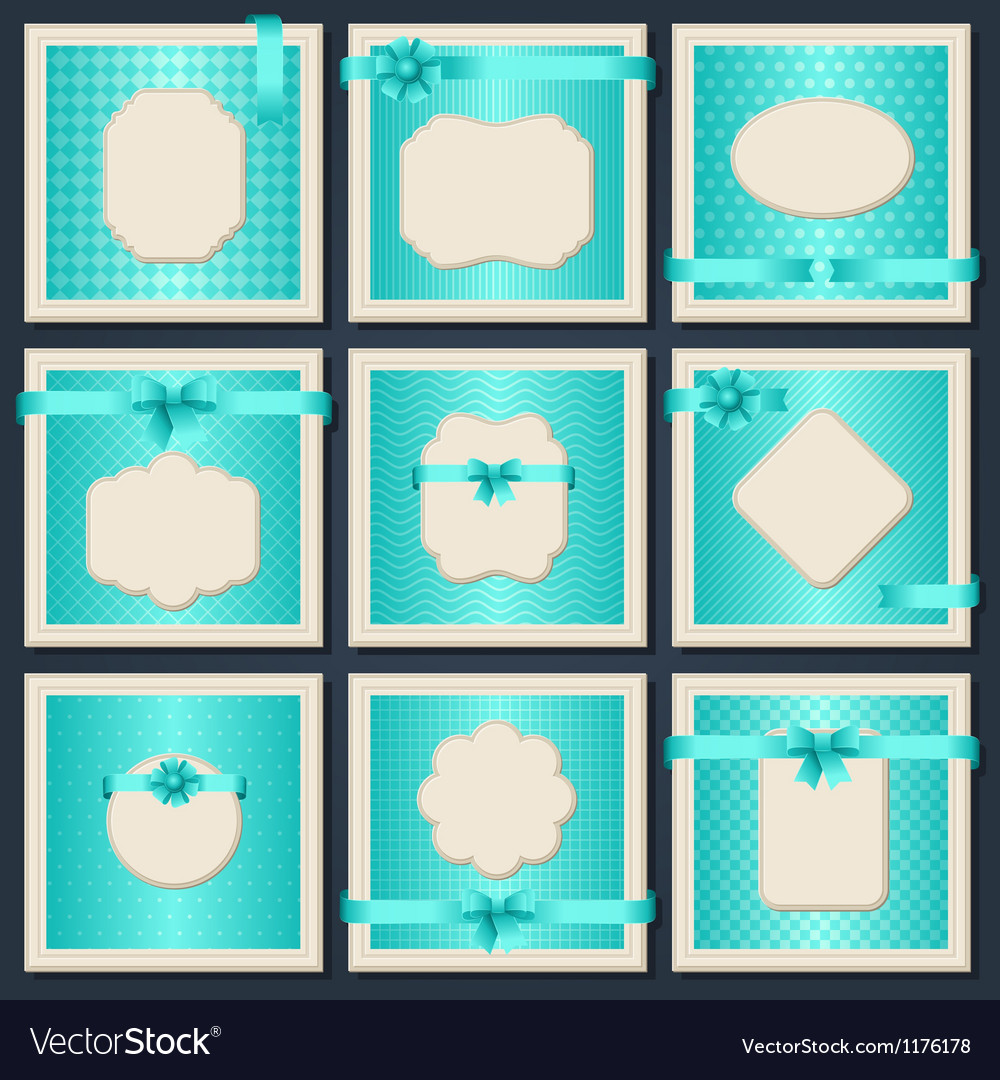 Vintage patterned cards with gift bows and ribbons vector | Price: 1 Credit (USD $1)