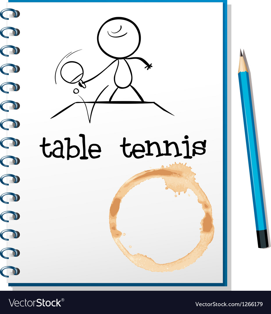 A notebook with a sketch of a person playing table vector | Price: 1 Credit (USD $1)