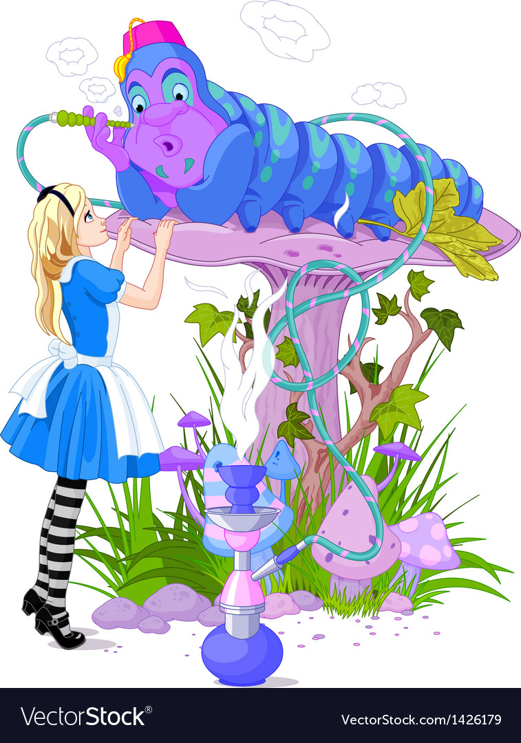 Alice and blue caterpillar vector | Price: 3 Credit (USD $3)