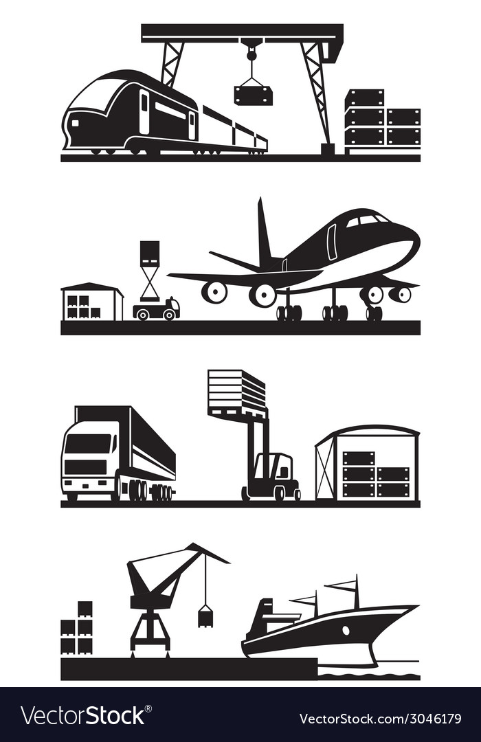 Cargo terminals in perspective vector | Price: 1 Credit (USD $1)