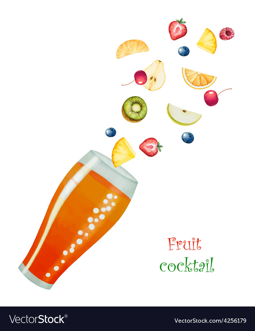 Fruit drink in glasses vector | Price: 1 Credit (USD $1)