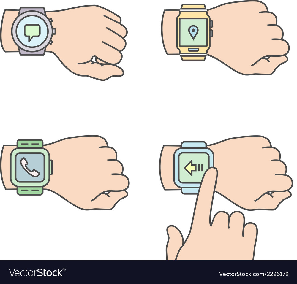 Hands with smartwatch icons vector | Price: 1 Credit (USD $1)
