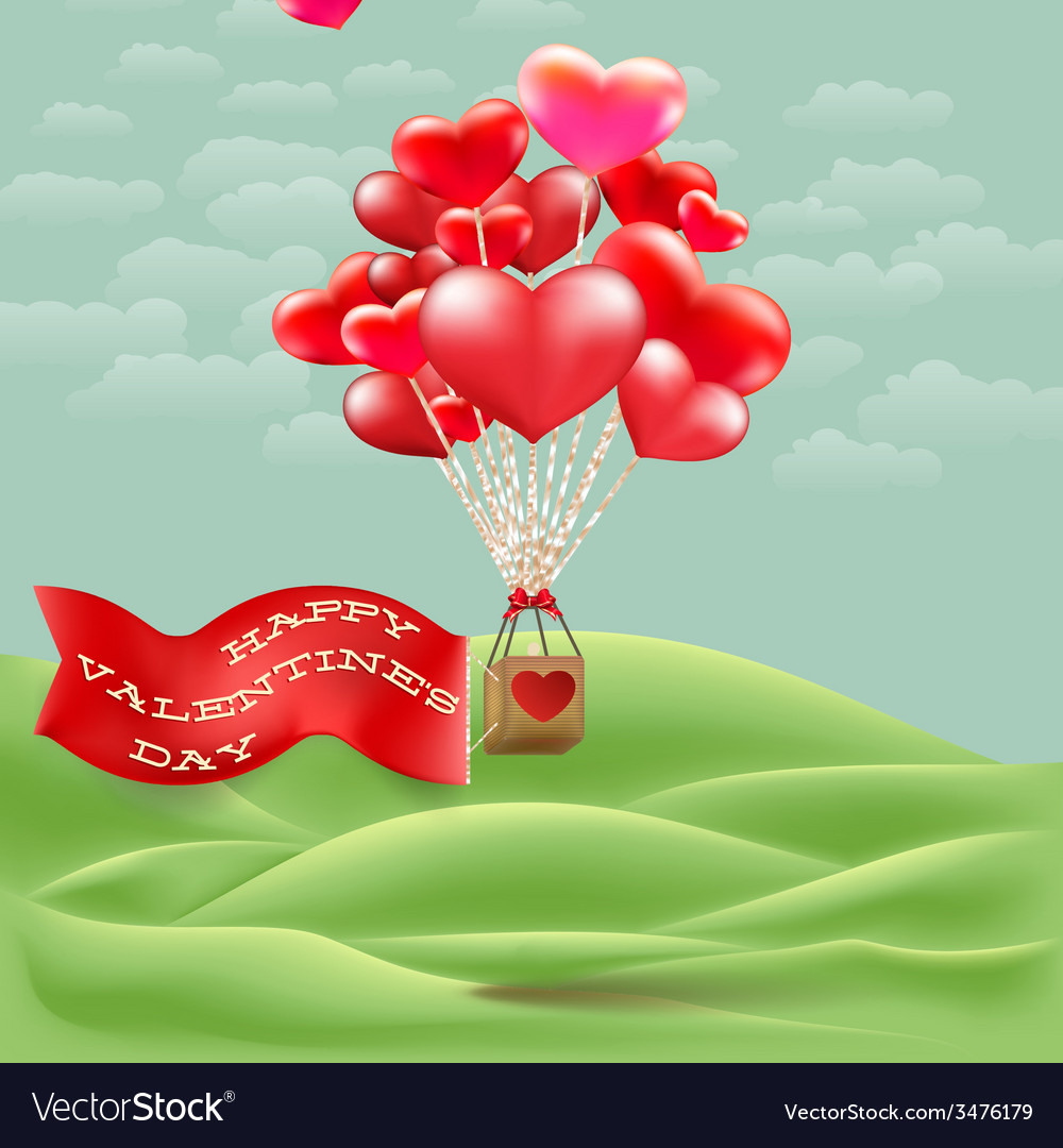 Heart-shaped hot air balloon taking off eps 10 vector | Price: 1 Credit (USD $1)