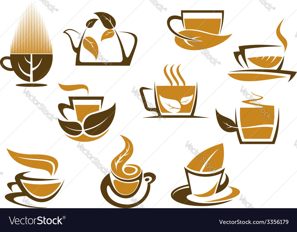 Herbal tea symbols and emblems vector | Price: 1 Credit (USD $1)