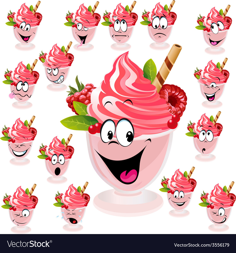 Ice cream with wafer raspberry and mint in cup - vector | Price: 1 Credit (USD $1)
