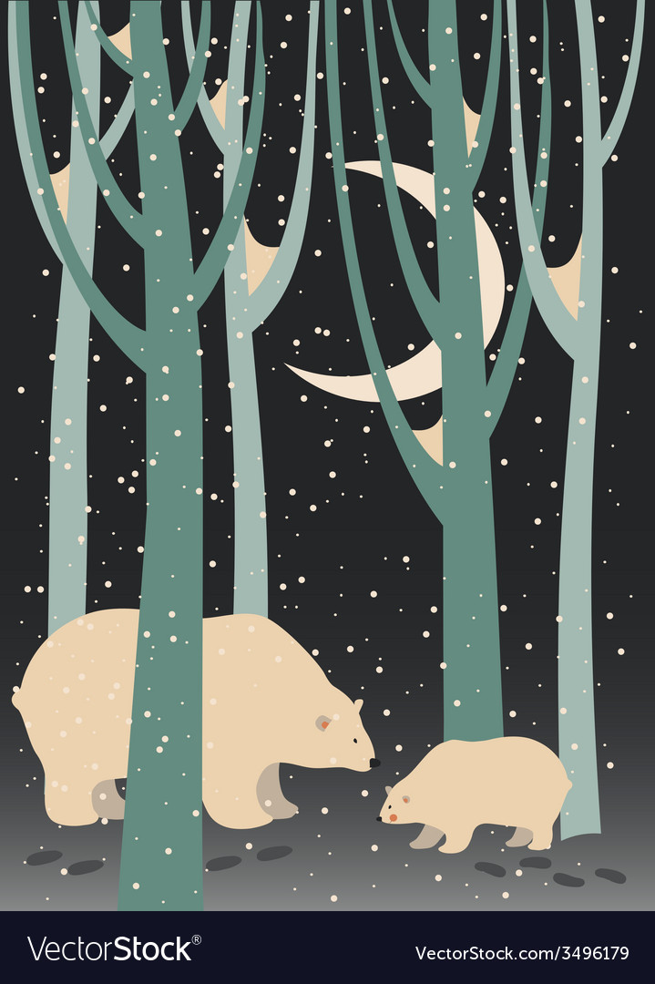 Polar bear and cub in the forest vector | Price: 1 Credit (USD $1)