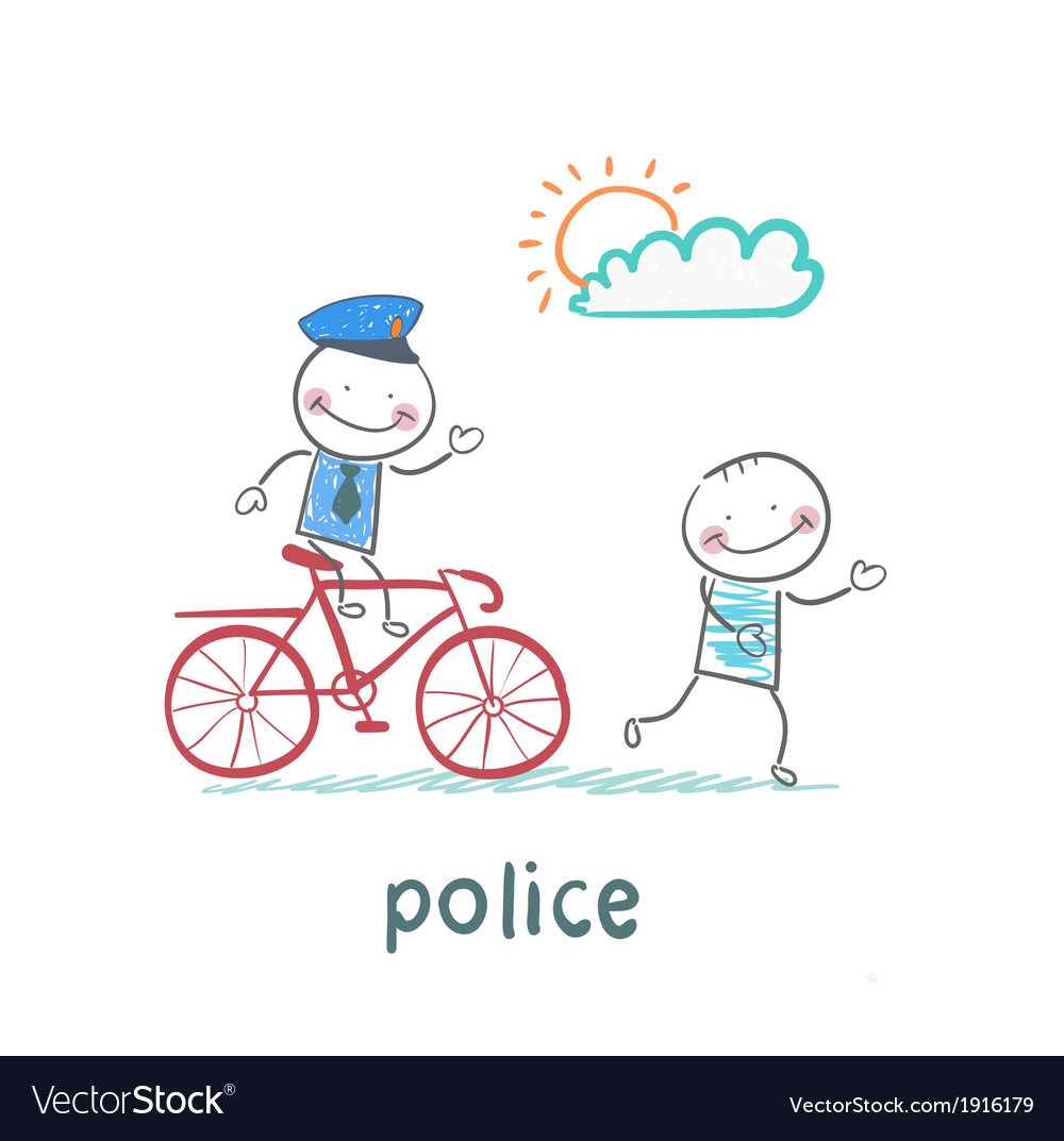 Police riding a bike for a criminal vector   Price: 1 Credit (USD $1)