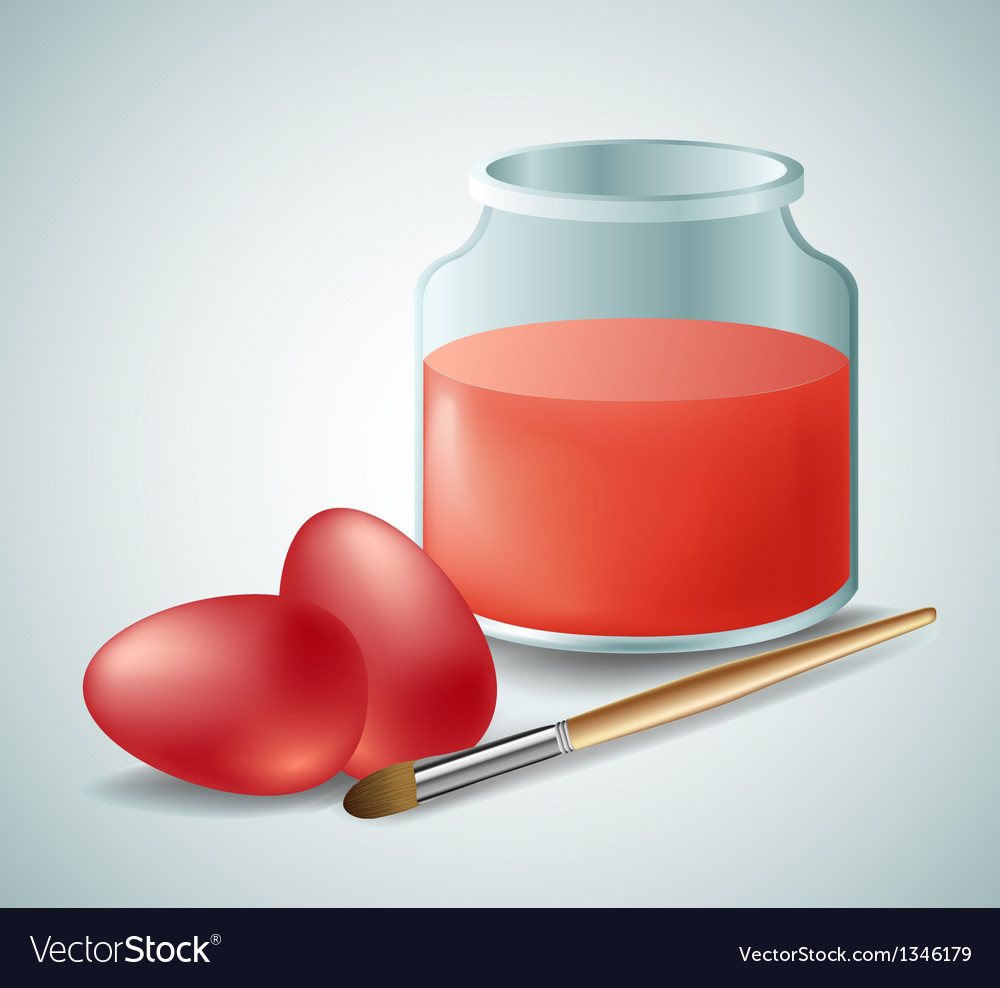 Red easter eggs with paint vector   Price: 1 Credit (USD $1)