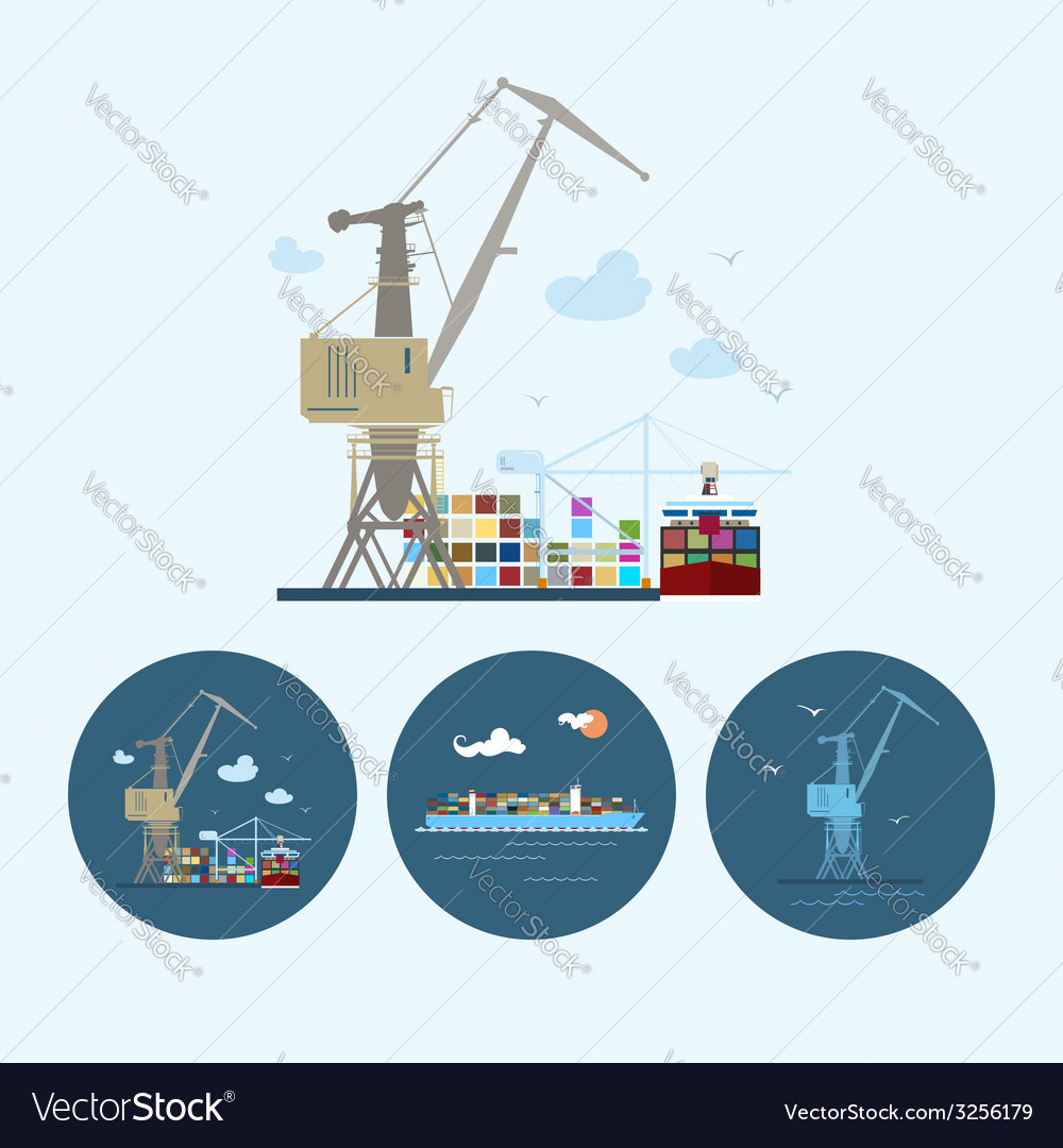 Set icons with crane containership  crane in dock vector | Price: 1 Credit (USD $1)