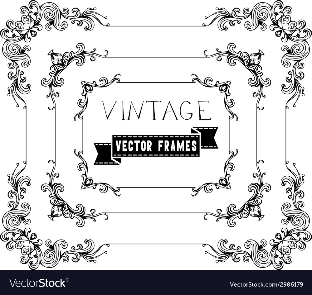 Set of calligraphic vintage frames vector | Price: 1 Credit (USD $1)