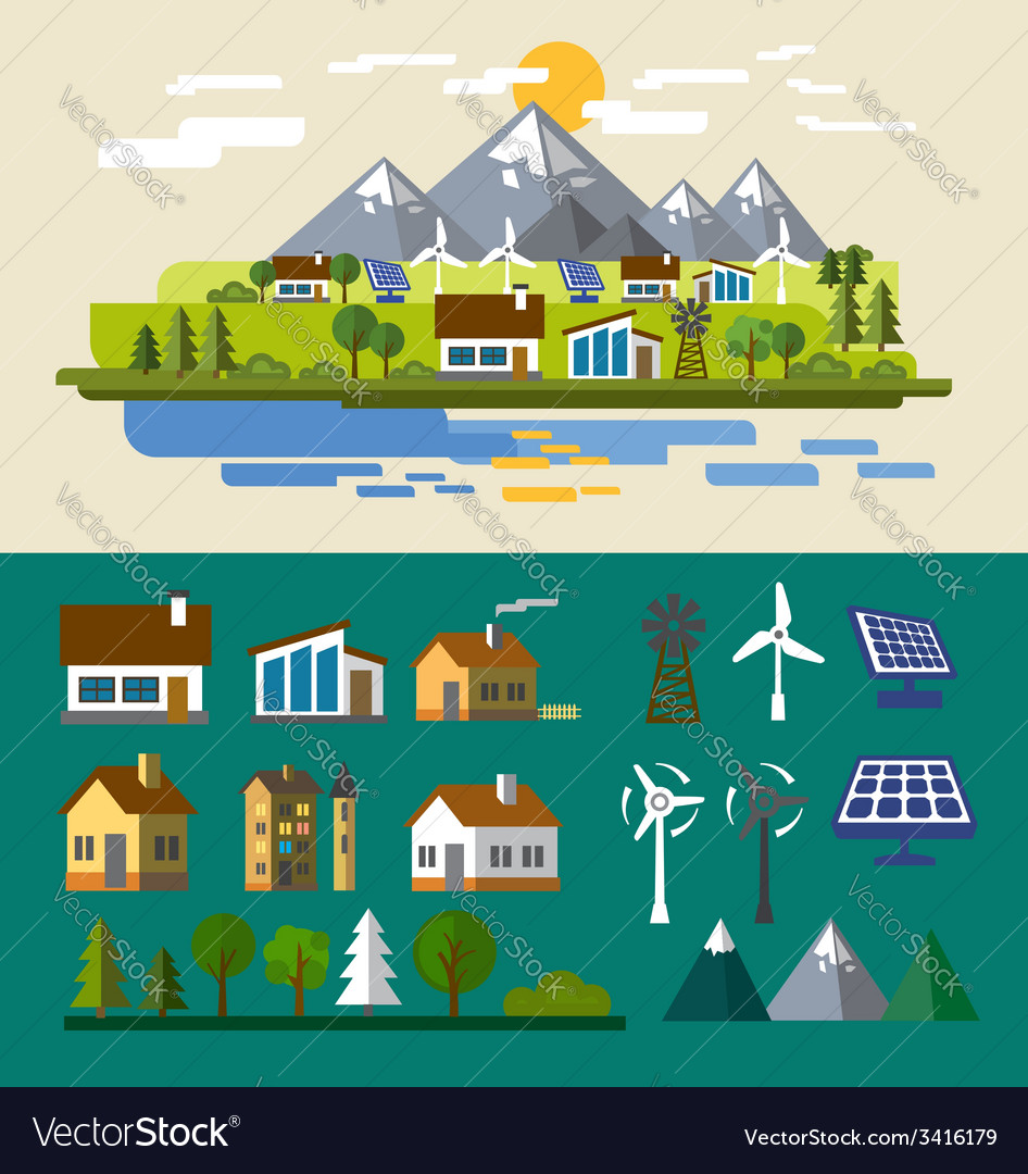 Village landscape vector | Price: 1 Credit (USD $1)
