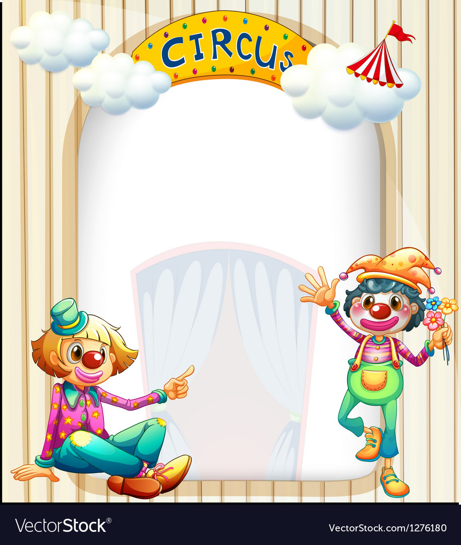 A circus entrance with a male and a female clown vector | Price: 1 Credit (USD $1)
