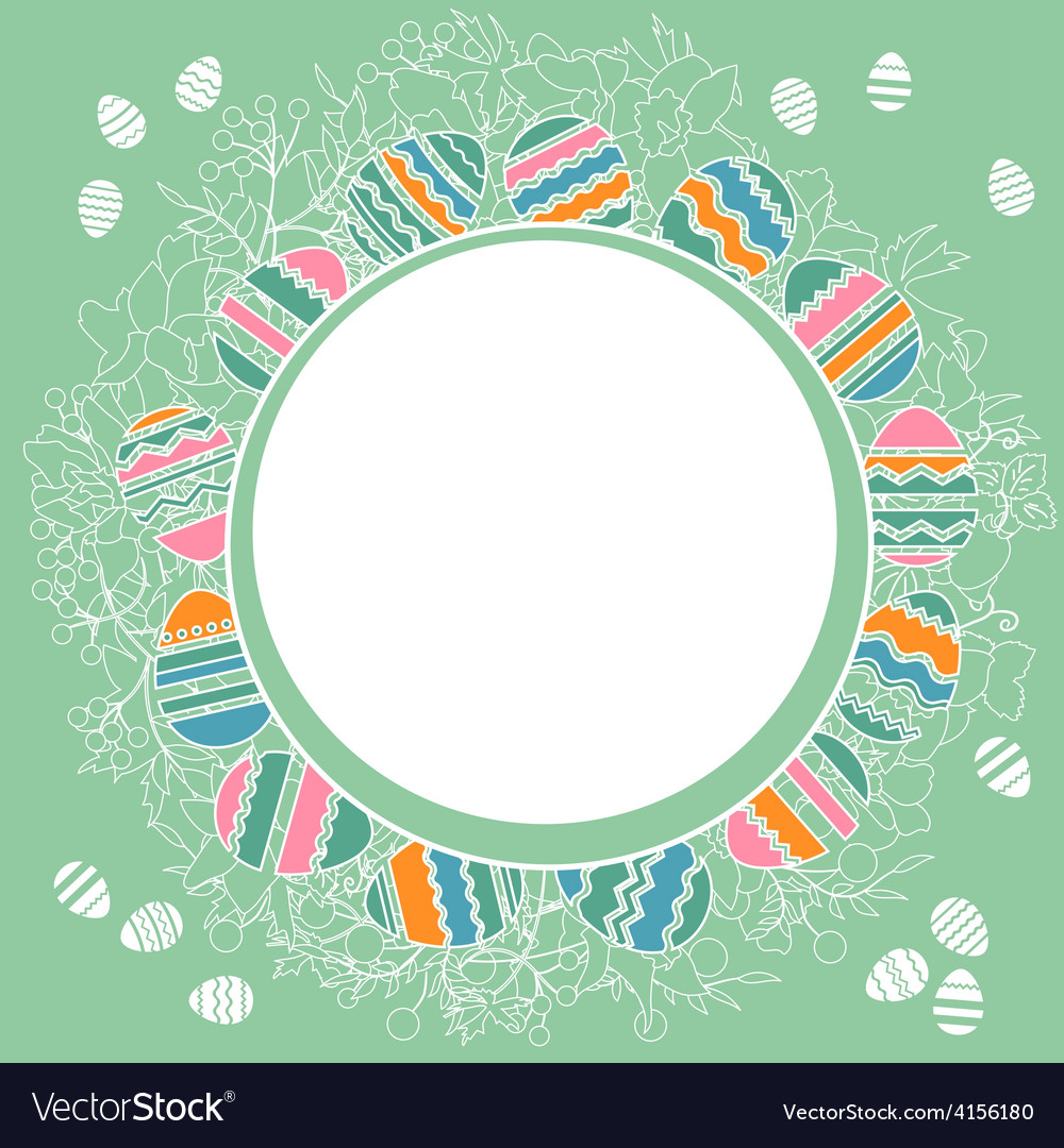 Delicate frame with easter eggs vector | Price: 1 Credit (USD $1)