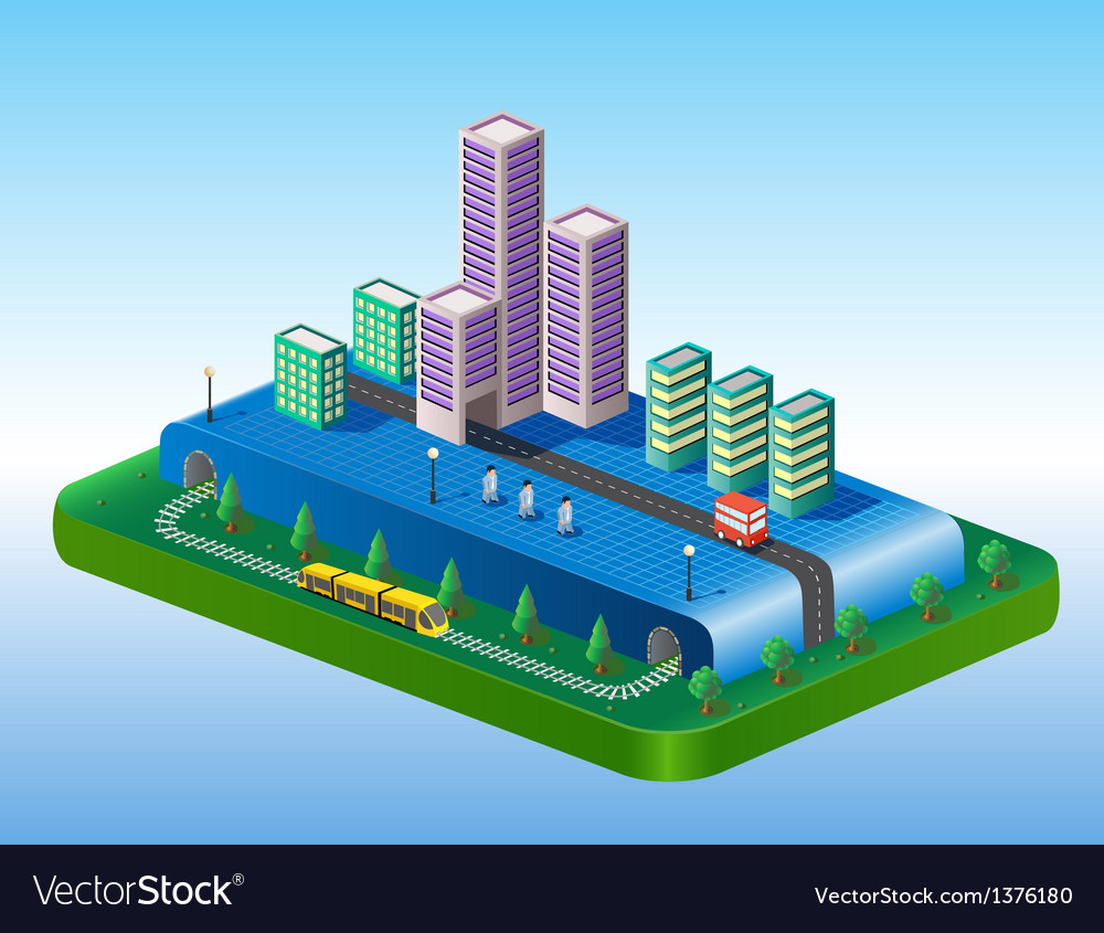 Isometric view of the city vector   Price: 1 Credit (USD $1)